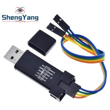 Simulador st link v2 mini stm8 stm32, simulador de download para programadores com capa e cabo dupont st link v2,