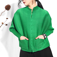LANMREM 2020 sonbahar yeni pilili giyim kadınlar için tek göğüslü gömlek gevşek büyük boy pilili güneş koruyucu bluz SA566