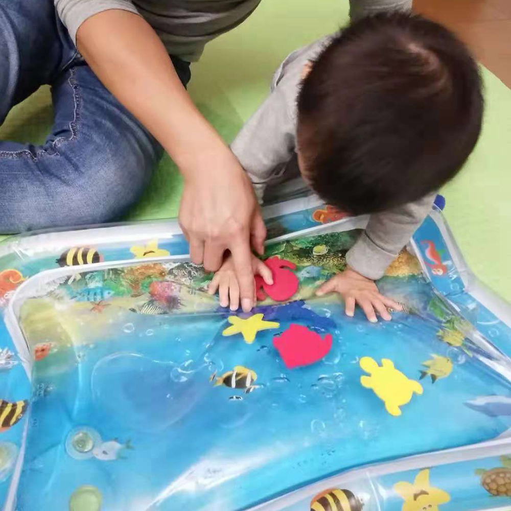 Baby Kids Water Play Mat With Little Foam Fish Tummy Baby Infant Play Mat Time Toddler Activity Play Water Mat For Children | Happy Baby Mama