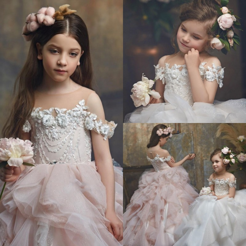 Luxury Beautiful   Flower     Girls     Dress   Jewel Lace 3D Appliques Kids Prom Gowns Ball Gown Floor Length   Flower     Girls     Dress