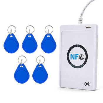USB interface 13.56Mhz NFC smart card reader Contactless smart card NFC reader and writer ISO14443A with 5 pieces keyfobs - DISCOUNT ITEM  26 OFF Security & Protection