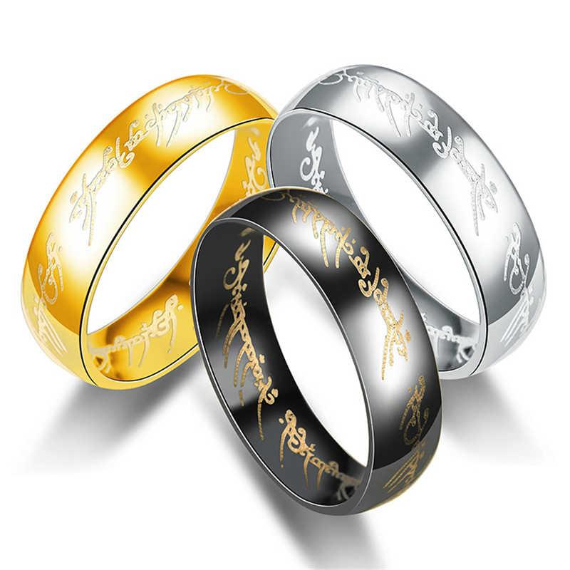 Moda senhor dos anéis de titânio aço anéis de ouro para mulher simples anel de prata jóias anel de noivado personalidade presentes
