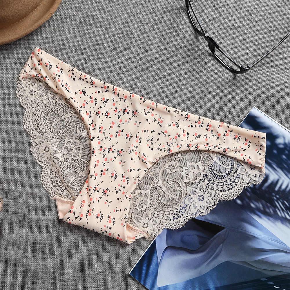Wanita Bunga Dicetak Seamless Celana Pakaian Dalam Wanita Seksi Lace Rendah Pinggang Transparan Leopard Celana Plus Ukuran Wanita Pakaian Dalam Wanita