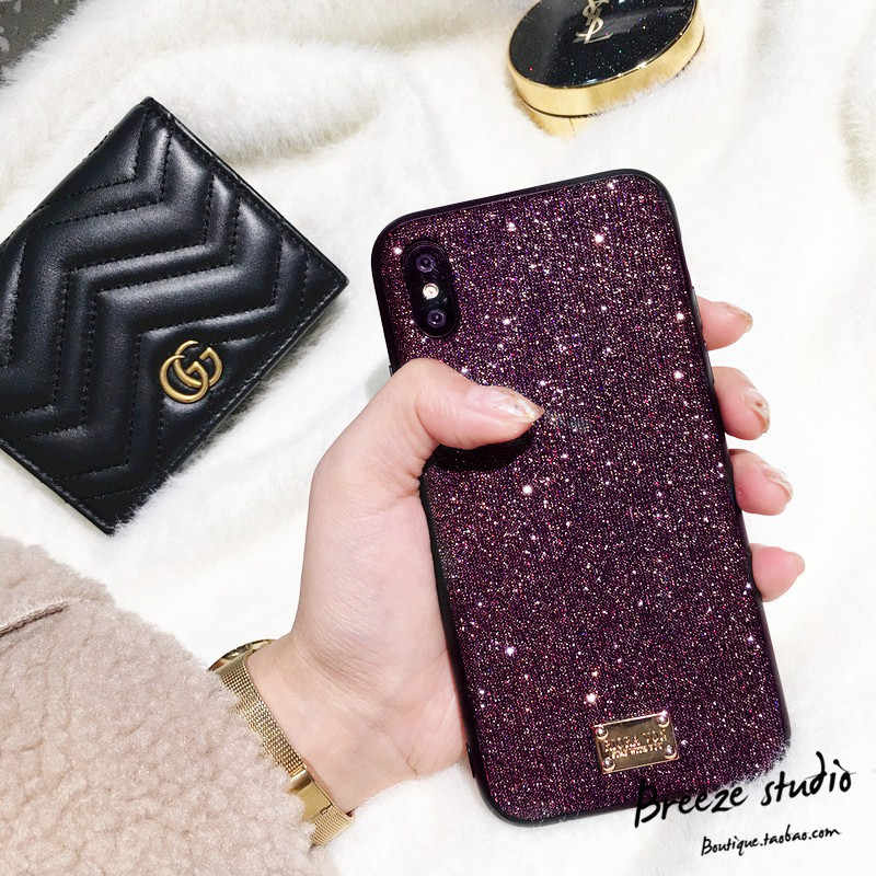 For Iphone 6 S 6S 7 7 Plus 8 X XS XR XS MAX Phone Coque Luxury Brand 3D Metal Letter Label Glitter Diamond Soft Bling Phone Case