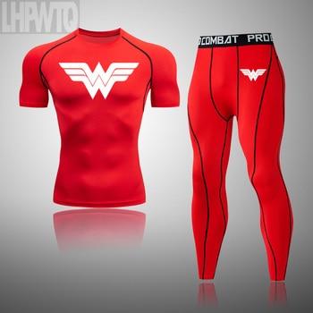 Wonder Woman Men's full Suit Compression Sport Suit Gym joggers Running Short sleeve Shirts leggings Basketball sportwear 22