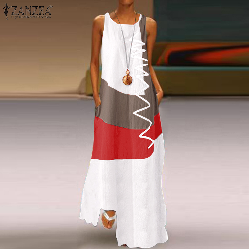 ZANZEA 2020 Women's Summer Sundress Vintage Color Stitching Maxi Dress Casual Sleeveless Tank Vestidos Female O Neck Robe Femme