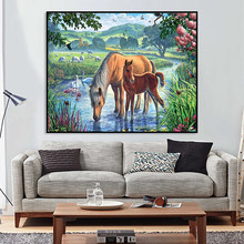 Home Decor Wall Art Craftr DIY Digital Painting Aniaml Horse Cow By Number Coloring Oil Pictures Hand Painted Abstract On Canvas(China)