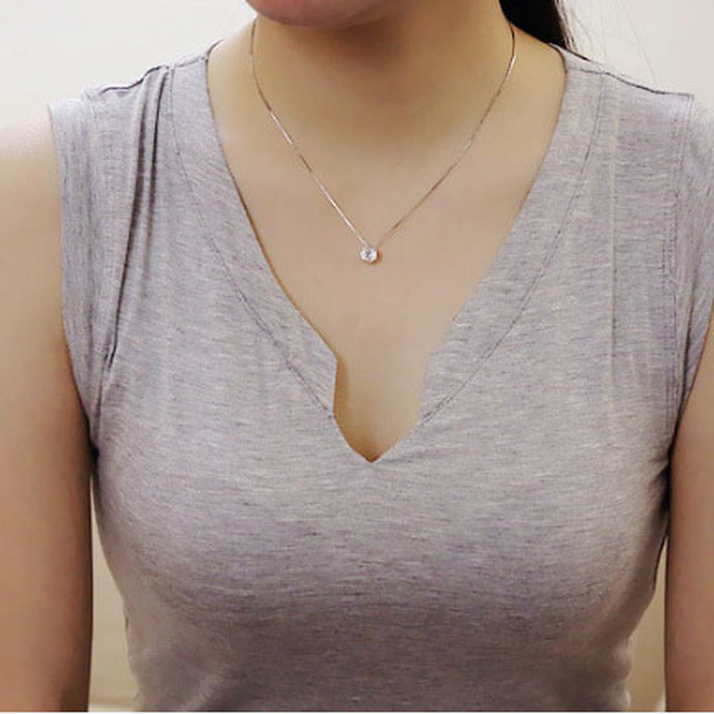 LISMLISM Crystal Necklace Chain Choker Trendy Women Silver Color Trendy Simple Pendant Necklaces Jewelry Lovers Collier