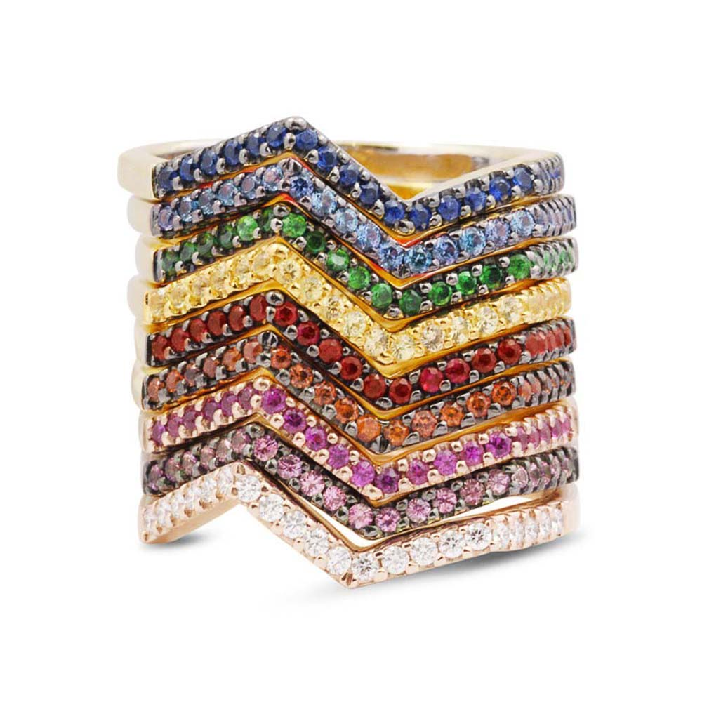 Huitan Simple Stylish Wave Shape Rainbow Women Rings 9 Colors Dance Party Girl Finger Ring Cute Daily Wear Gifts Fashion Jewelry