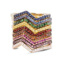 Huitan простые Стильные волнистые радужные женские кольца 9