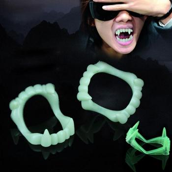 1PCS Vampire Luminous Fake Teeth for People Glow In The Dark Gag Terrorist Toy for Halloween Decoration Party Funny Spoof image