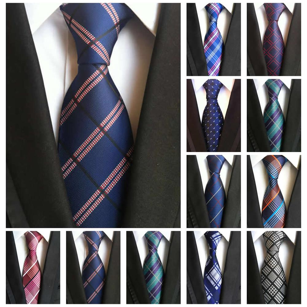 Fashion Men's Ties Classic Plaid Neckties 100% Silk 8CM Ties For Men Green Blue Black Jacquard Woven Business Wedding Neckties