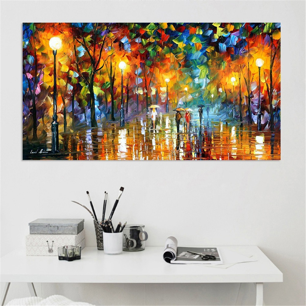 Abstract Umbrella Passerby Streetscape Oil Painting Lover Rain Day Stroll Posters Home Decor Wall Art Canvas Painting Pictures