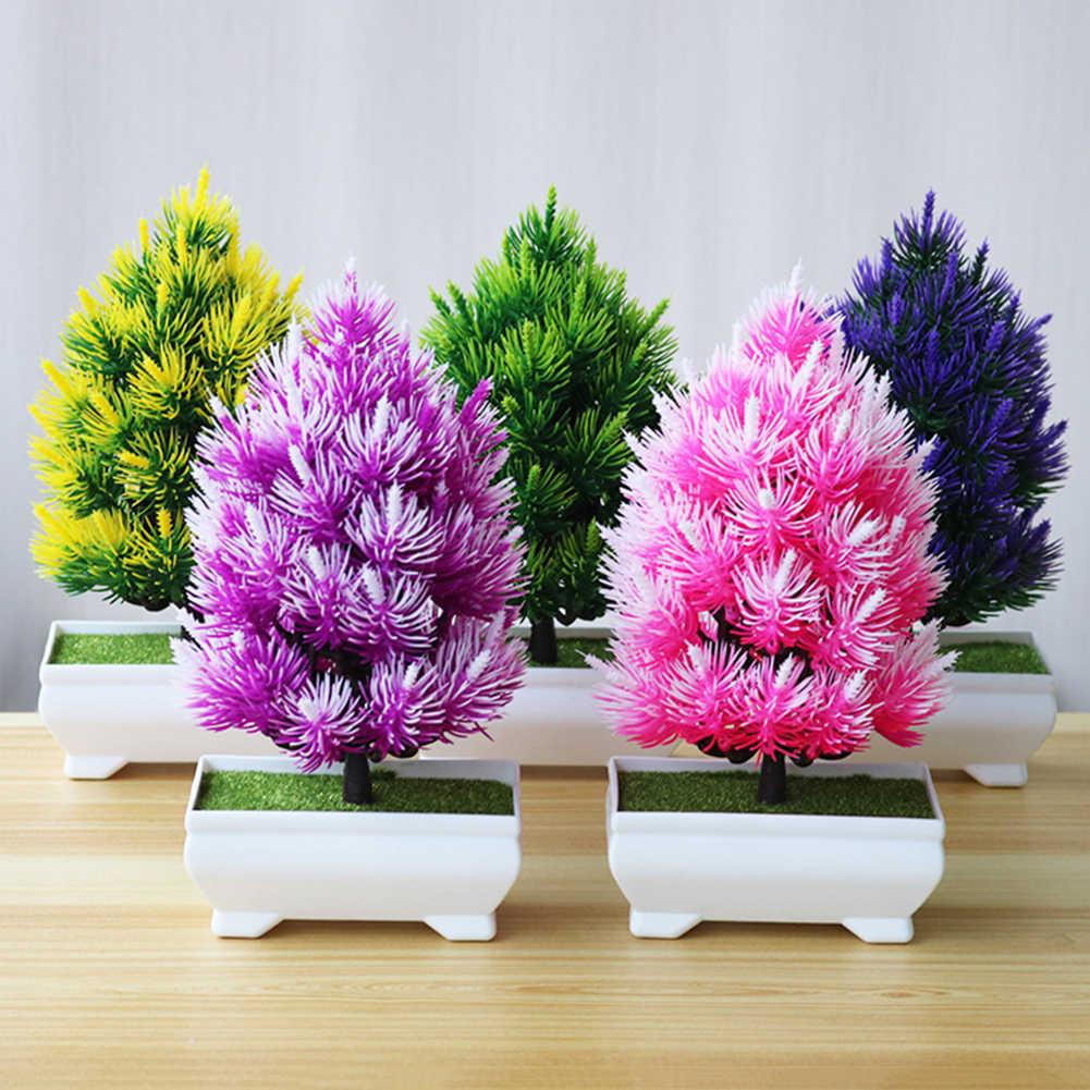 Pinus Buatan Bonsai Pohon Kecil Pot Tanaman Palsu Bunga Pot Hiasan untuk Dekorasi Rumah Hotel Dekorasi Taman