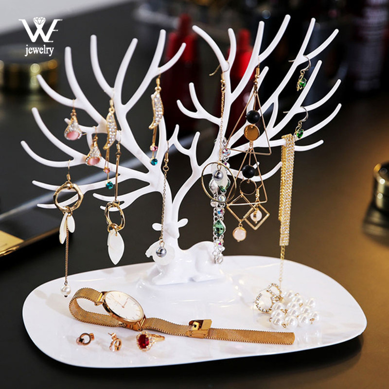 WE Black White Pink Rose Red Deer Earrings Necklace Ring Pendant Bracelet Jewelry Cases&Display Stand Tray Tree Storage jewelry