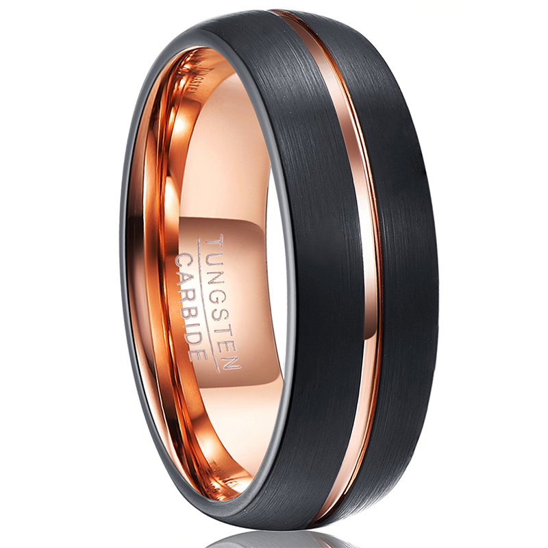 8mm Tungsten Carbide Brushed Finish with Polished Groove Wedding Band Ring for Men or Ladies