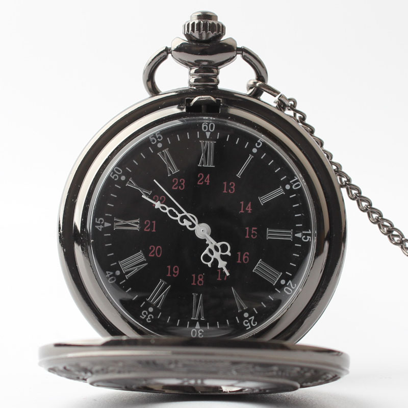 Pocket & Fob Watches Black Steampunk Quarzt Pocket Watch with Neckace Pendant for Men/women Gift