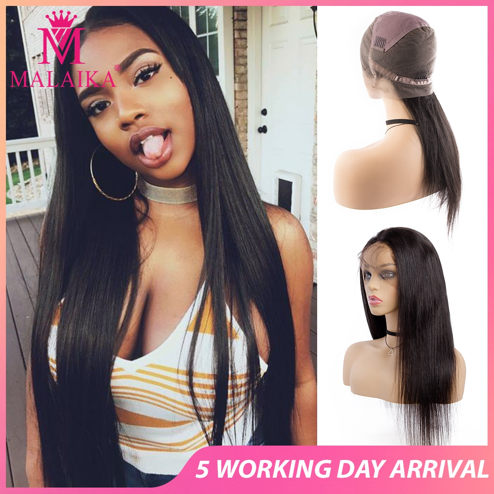 "MALAIKA Full Lace Human Hair Wigs For Black Women  Straight Wigs 130% Density High Quality 10""-28"" Brazilian Hair Full Lace Wig"
