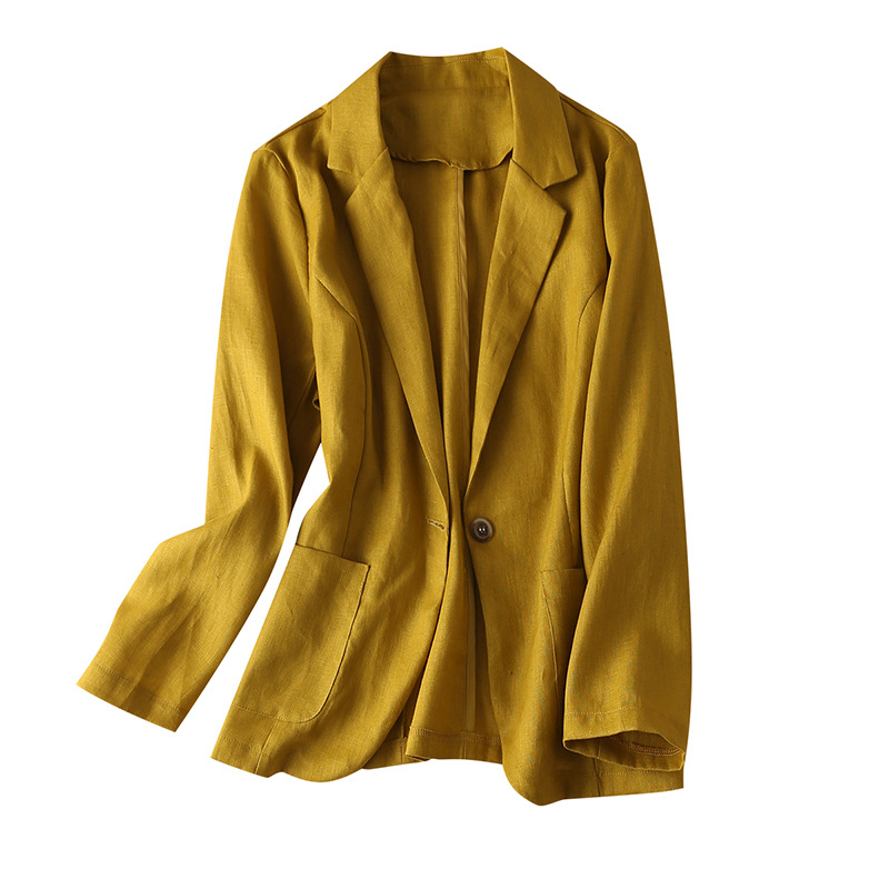 Single Button Linen Blazer Women Summer 2020 Long Sleeve Turn-down Collar  Pockets Solid Casual Jackets Womens Clothes