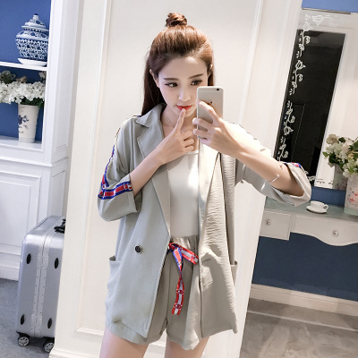 2017 Summer Korean-style Three-quarter-length Sleeve Light Jacket-Style High-waisted Wide-Leg Shorts Side Edge Webbing WOMEN'S S