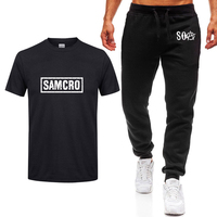Hot TV SOA Sons of Anarchy Cosplay Costume Mens T shirt SAMCRO Skull Print high quality Cotton Short sleeve T Shirts+pants suit