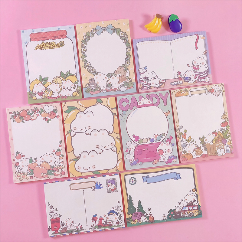 50Sheets/Lot Kawaii Korean INS Cute Cat Fruit Candy Memo Pad N Times Sticky Notes Portable Notepad School Office Supply