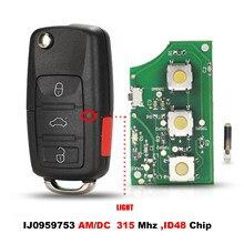 Jingyuqin ASK HL01J0959753AM 753DC 315Mhz ID48 4B osłona klucza zdalnego obracana dla volkswagena VW Touareg Switchblade Case Fob