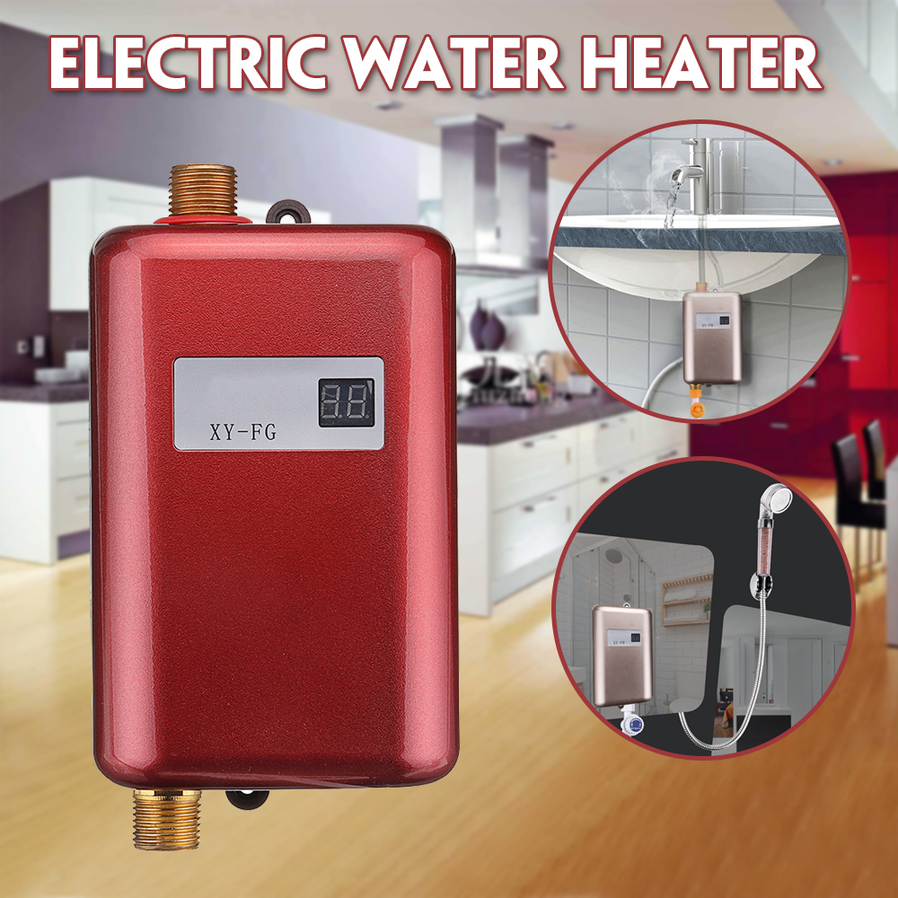 3800W Electric Water Heater Instant Tankless Water Heater 110V/220V 3.8KW Temperature Display Heating Shower Universal