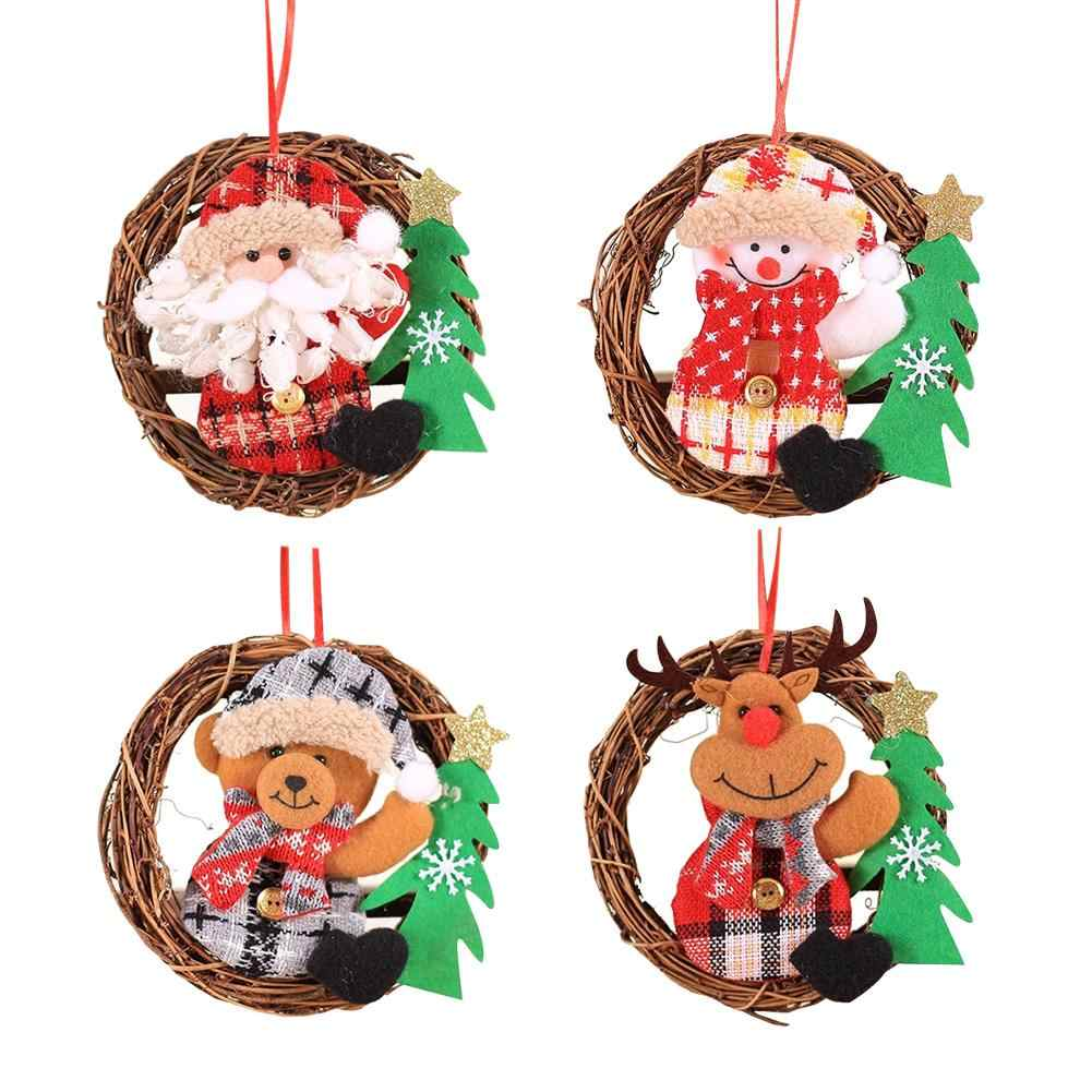 Creative Christmas Wreath Door Hanging Figurine Rattan Christmas Tree Decoration Festival Accessories Small Cute