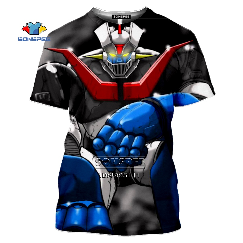 Mazinger Z T Shirt Men Japan Robot Anime 3D Print Men's T-Shirt Women Summer O-neck Tshirt Harajuku Casual Street Fitness Shirts