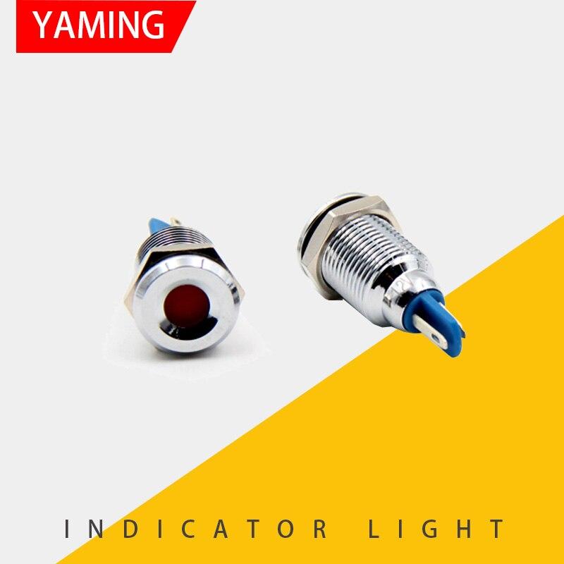 1pc 10mm Waterproof Metal Circular Indicator LED Lamp Signal Pilot Working Light 12V 24V 220V Colorful 2 Pins P39