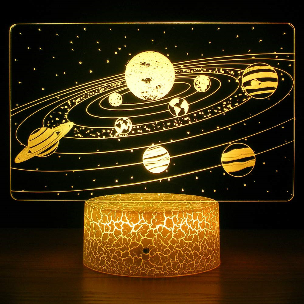Solar System 3D Optical Illusion Lamp Universe Space Galaxy Night Light For Kids Boys Girls As On Birthdays Or Holidays Gifts
