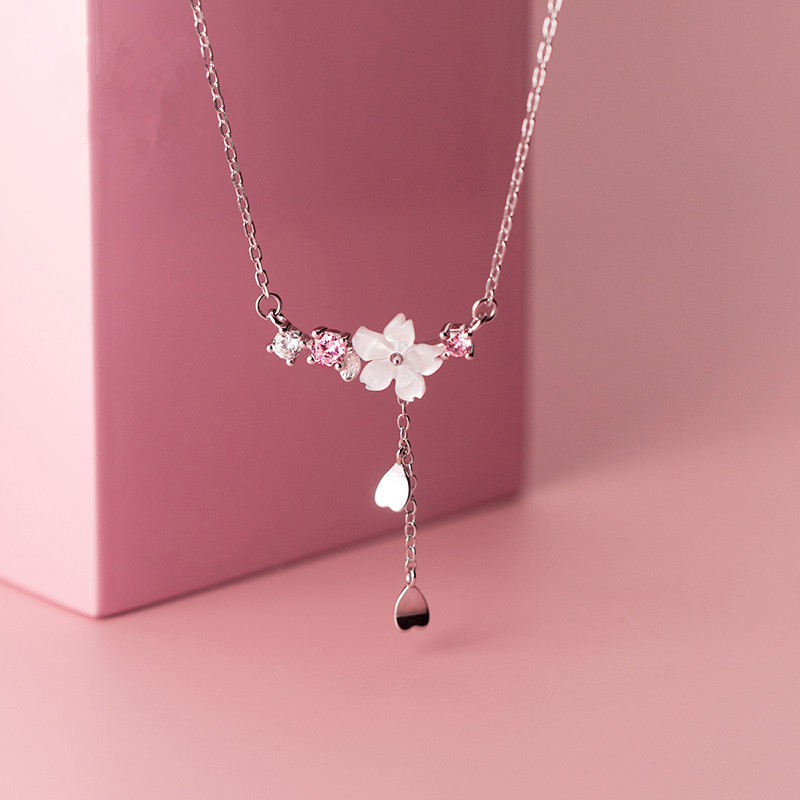 925 Sterling Silver Cherry Flower Shell Long Tassel Necklace for Women Sweet Heart Pendant Clavicle Chain Necklace S-N703 1
