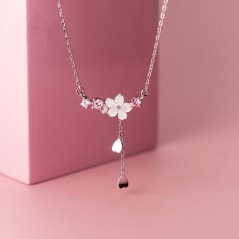 Women Flower Shell Long Tassel Necklace Jewelry 925 Silver Jewelry