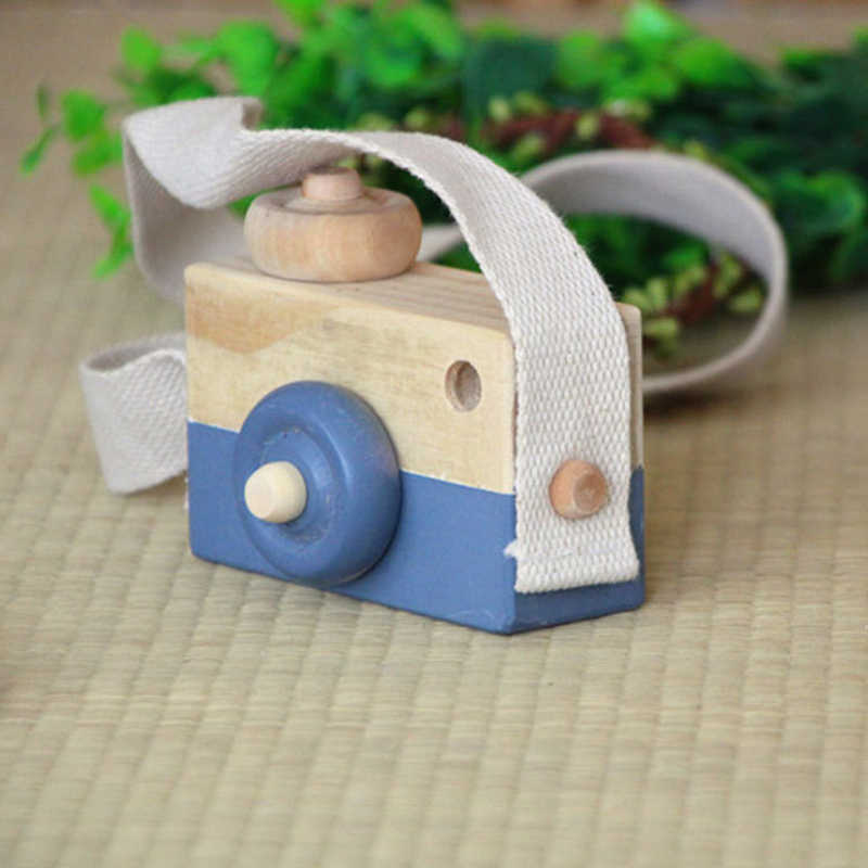 Cute wooden camera toy photography props decoration baby kids hanging children educational toys birthday Christmas gifts
