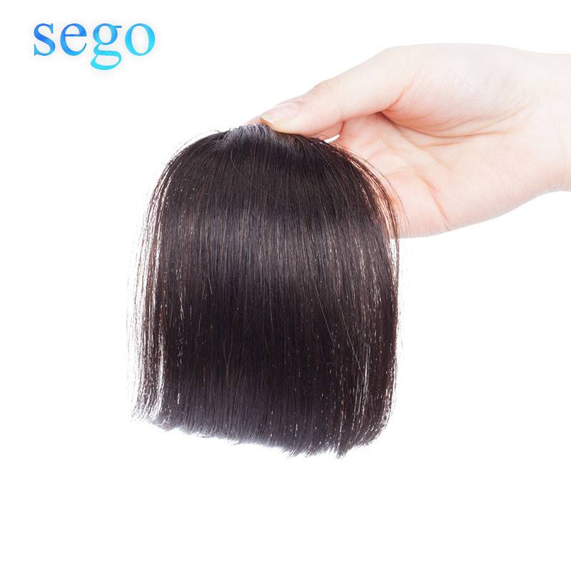 SEGO Straight Pure Color Blunt Bangs Human Hair Fringe Clip In Bangs Hair Extensions Non-Remy Hair Brazilian Hair Neat Bangs 10g
