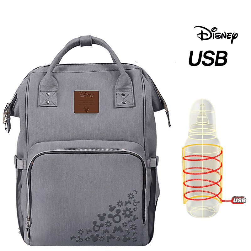 New Disney Mummy Diaper Bags Double Shouder Insulation Backpack Nappy Bags Handbags Fashion Print With USB Heater