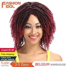 14 polegada de alta temperatura fibra dreadlock ombre burg crochê torção do cabelo perucas sintéticas para mulheres negras