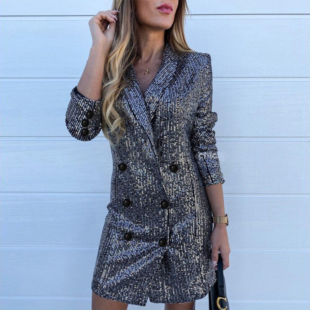 Office Lady Suit Dresses Elegant Long Sleeve Sequined Blazer Dress Women Lapel Grey Business Short Slim Dress 2020 Spring D30
