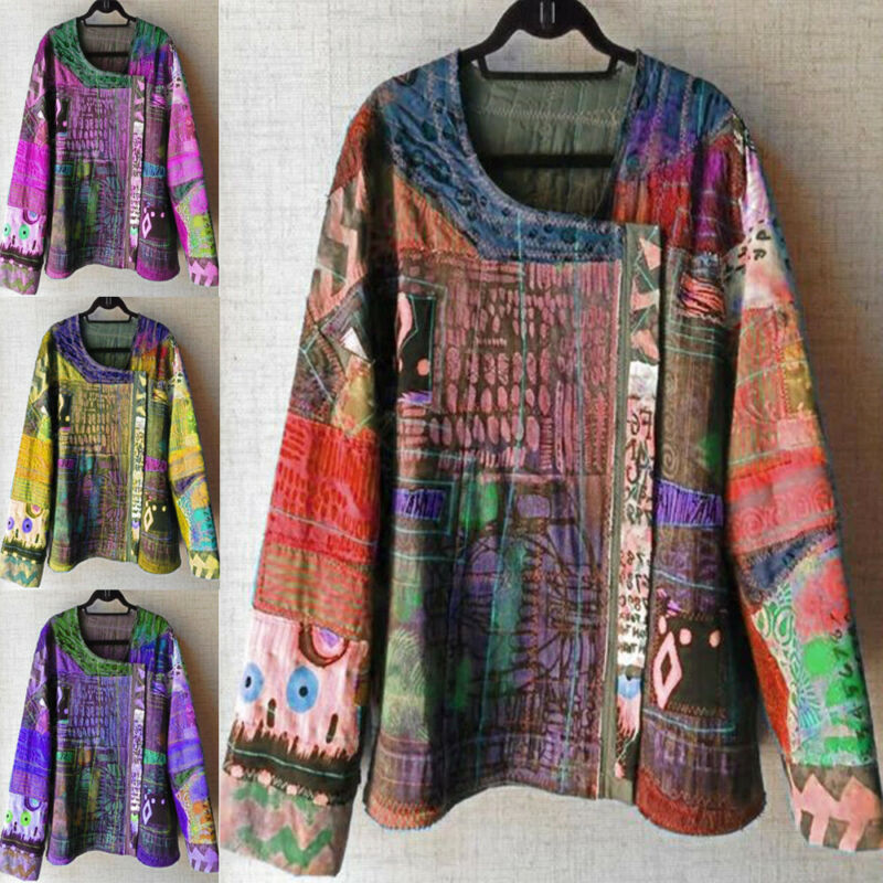 Women Vintage Floral Ethnic Style Asymmetrical Blouse Women's Blouses Women's Clothings