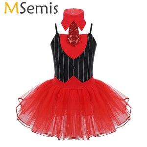 Image 1 - Costume de danse de cirque pour filles, Costume avec cravate de gymnastique, justaucorps de Ballet, jupes Tutu, robe de patinage artistique, de noël