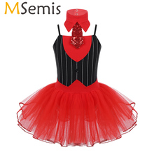 Kids Girls Christmas Dance Circus Ringmistres Costume Outfit with Tie Gymnastics Leotard Ballet Tutu Skirts Figure Skating Dress