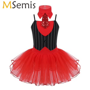 Image 1 - Kids Girls Christmas Dance Circus Ringmistres Costume Outfit with Tie Gymnastics Leotard Ballet Tutu Skirts Figure Skating Dress
