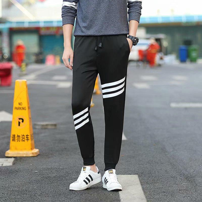 Summer Tian Chao Men Students Skinny Sports Beam Leg Capri Pants Teenager Summer Men's 9 Points Casual Pants Zi Xia
