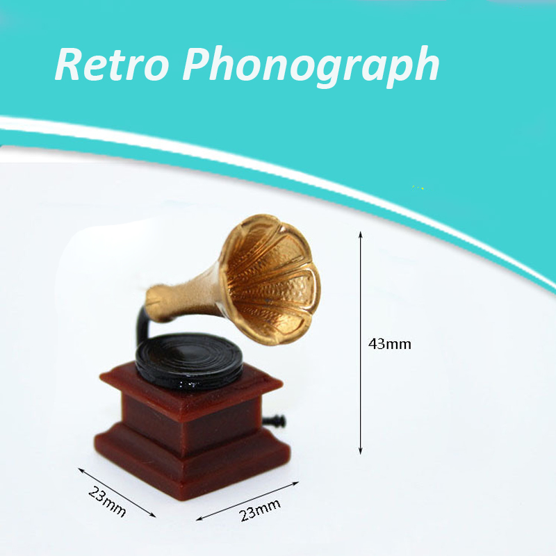 Retro Phonograph Simulation Furniture For 1/12 Doll House Decoration Mini Gramophone With Record DIY Miniature Accessories