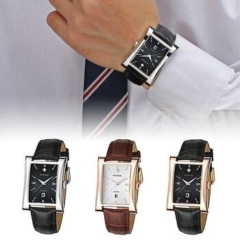 цена на Men Fashion Calendar Watch Rectangle Dial Genuine Leather Quartz Wristwatch Alloy Case Waterproof Male Business Casual Watches