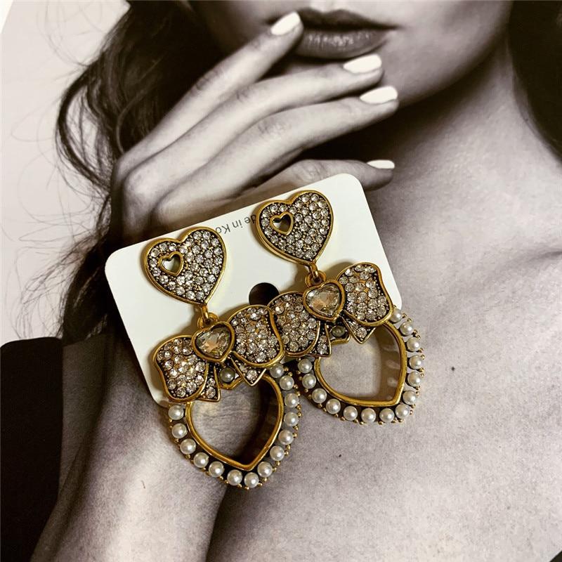 retro temperament hollow heart-shaped rhinestone  luxury earrings vintage boho drop jewelry