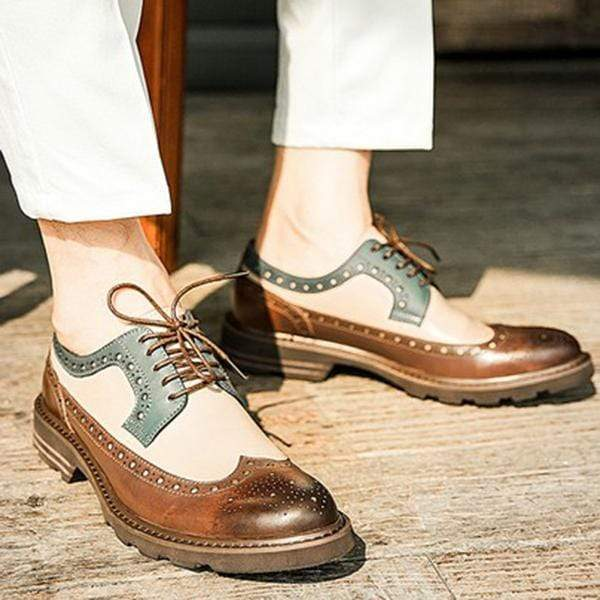 Men Pu Leather Shoes Lace Up  Casual Shoes Dress Shoes Brogue Shoes Spring Ankle Boots Vintage Classic Male Casual F254