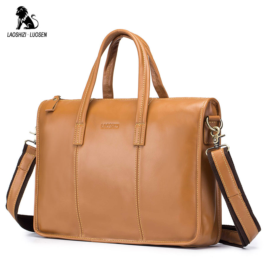 LAOSHIZI LUOSEN New Fashion Bag Men Briefcase Genuine Leather  Men Bags Business Brand Male Briefcases Handbags Wholesale