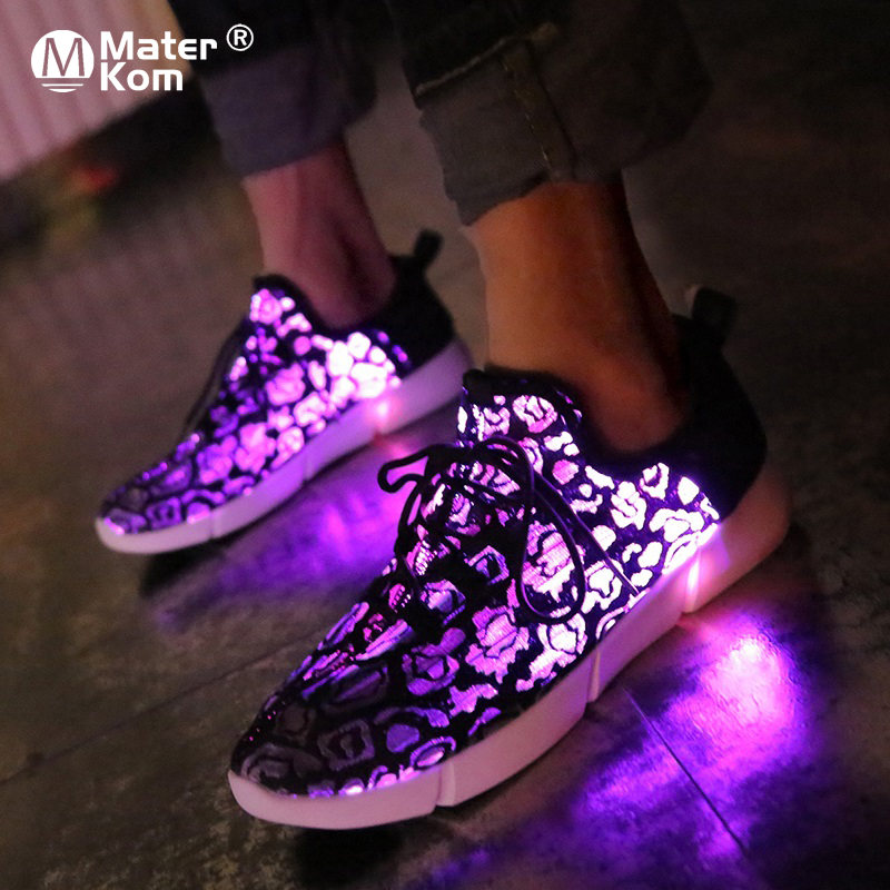 Size 25-45 Summer LED Fiber Optic Shoes For Girls Boys Men Women USB Recharge Glowing Sneakers Man Party Wedding Light Up Shoes